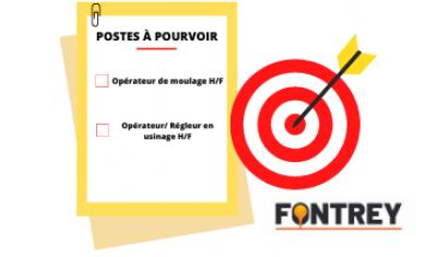 FONTREY recherche activement un opérateur de moulage et un opérateur/régleur en usinage à Roanne