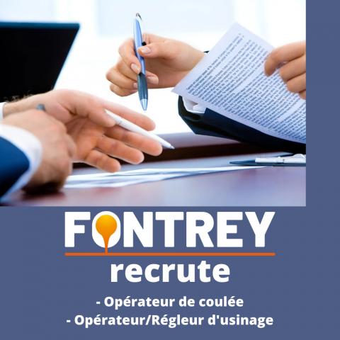 FONTREY recrute un opérateur de coulée en fonderie et un opérateur/régleur en usinage à Roanne