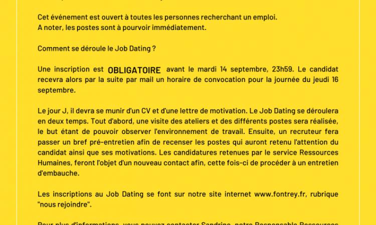 Job Dating - FONTREY -Jeudi 16 Septembre 2021 - Fonderie de fonte